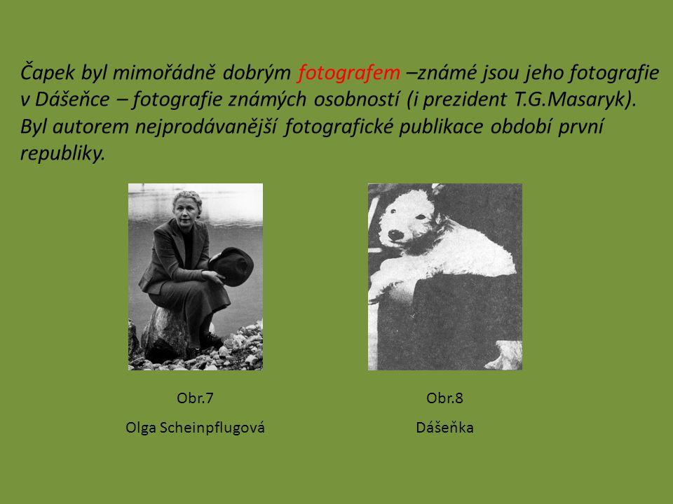 Čapek byl mimořádně dobrým fotografem –známé jsou jeho fotografie v Dášeňce – fotografie známých osobností (i prezident T.G.Masaryk). Byl autorem nejp