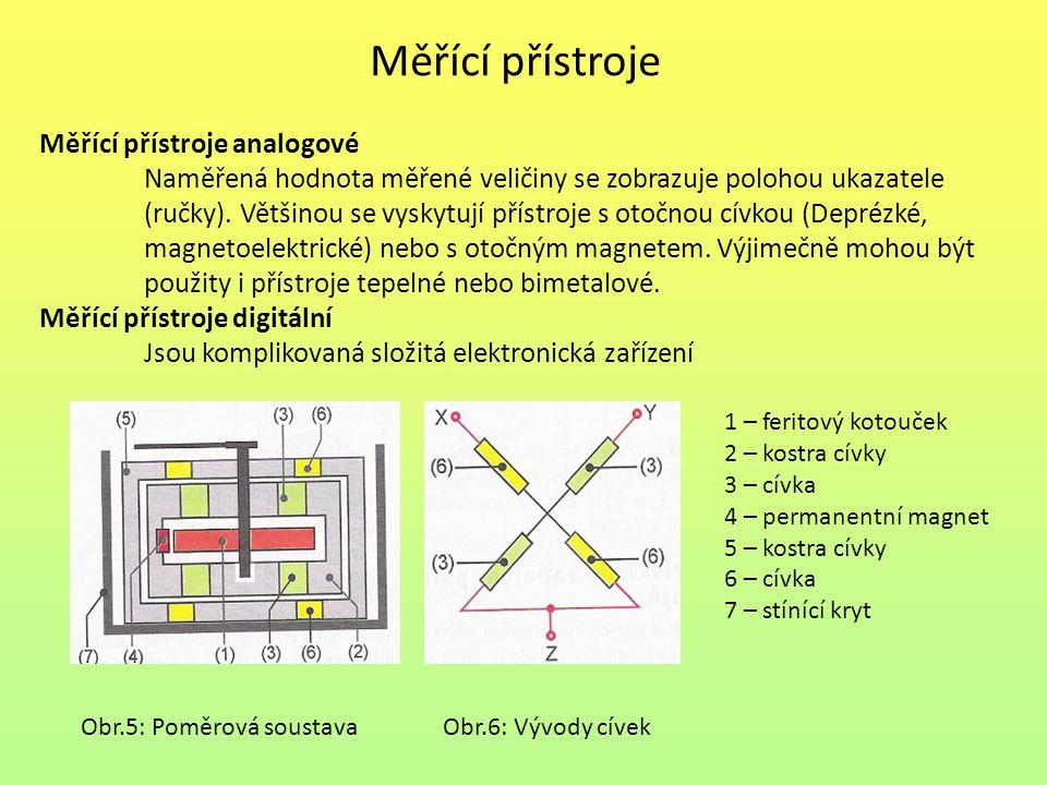 Měřící přístroje Měřící přístroje analogové Naměřená hodnota měřené veličiny se zobrazuje polohou ukazatele (ručky). Většinou se vyskytují přístroje s