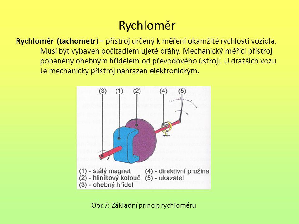 Rychloměr Rychloměr (tachometr) – přístroj určený k měření okamžité rychlosti vozidla. Musí být vybaven počítadlem ujeté dráhy. Mechanický měřící přís