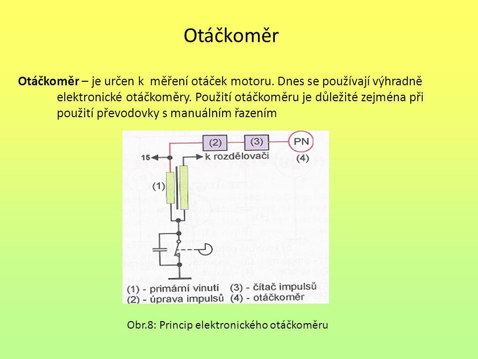 Otáčkoměr Otáčkoměr – je určen k měření otáček motoru. Dnes se používají výhradně elektronické otáčkoměry. Použití otáčkoměru je důležité zejména při