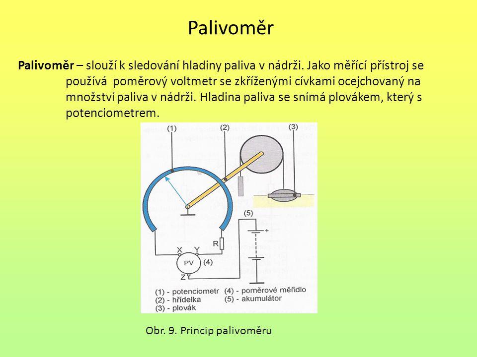 Palivoměr Palivoměr – slouží k sledování hladiny paliva v nádrži. Jako měřící přístroj se používá poměrový voltmetr se zkříženými cívkami ocejchovaný