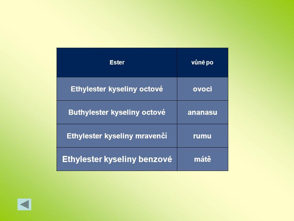 Estervůně po Ethylester kyseliny octovéovoci Buthylester kyseliny octovéananasu Ethylester kyseliny mravenčírumu Ethylester kyseliny benzové mátě
