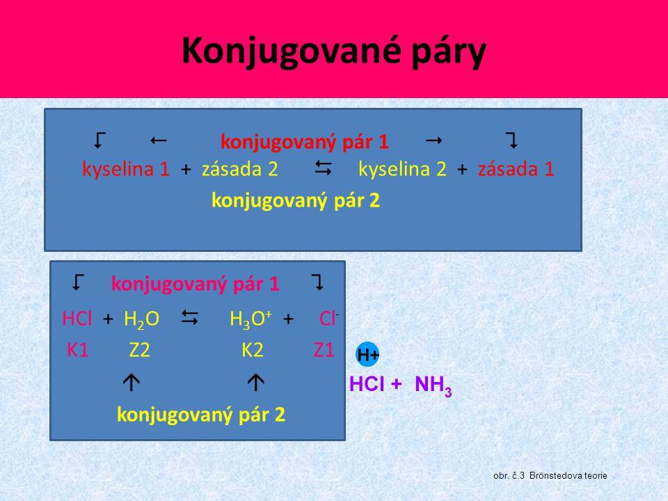 Konjugované páry   konjugovaný pár 1   kyselina 1 + zásada 2  kyselina 2 + zásada 1 konjugovaný pár 2  konjugovaný pár 1  HCl + H 2 O  H 3 O +