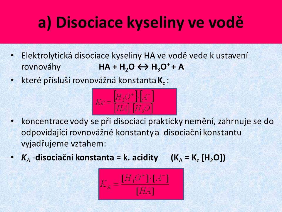 a) Disociace kyseliny ve vodě Elektrolytická disociace kyseliny HA ve vodě vede k ustavení rovnováhy HA + H 2 O ↔ H 3 O + + A - které přísluší rovnová