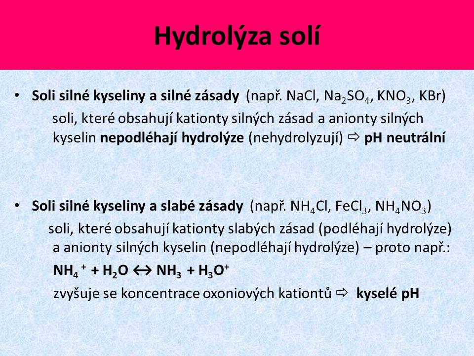 Hydrolýza solí Soli silné kyseliny a silné zásady (např. NaCl, Na 2 SO 4, KNO 3, KBr) soli, které obsahují kationty silných zásad a anionty silných ky