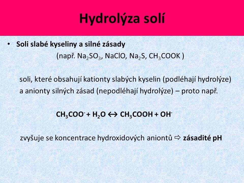 Hydrolýza solí Soli slabé kyseliny a silné zásady (např. Na 2 SO 3, NaClO, Na 2 S, CH 3 COOK ) soli, které obsahují kationty slabých kyselin (podléhaj