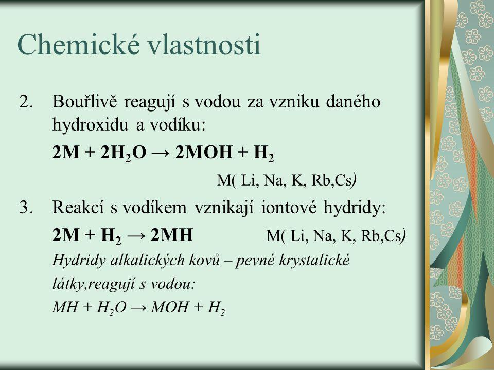 Chemické vlastnosti 2.Bouřlivě reagují s vodou za vzniku daného hydroxidu a vodíku: 2M + 2H 2 O → 2MOH + H 2 M( Li, Na, K, Rb,Cs ) 3.Reakcí s vodíkem vznikají iontové hydridy: 2M + H 2 → 2MH M( Li, Na, K, Rb,Cs ) Hydridy alkalických kovů – pevné krystalické látky,reagují s vodou: MH + H 2 O → MOH + H 2