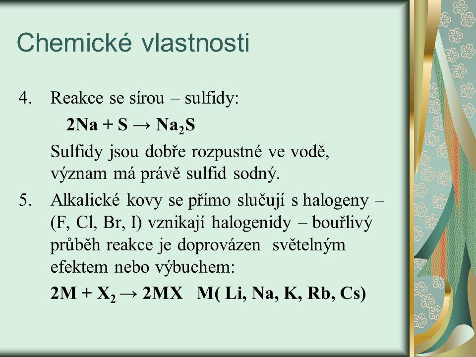 Chemické vlastnosti 4.Reakce se sírou – sulfidy: 2Na + S → Na 2 S Sulfidy jsou dobře rozpustné ve vodě, význam má právě sulfid sodný.