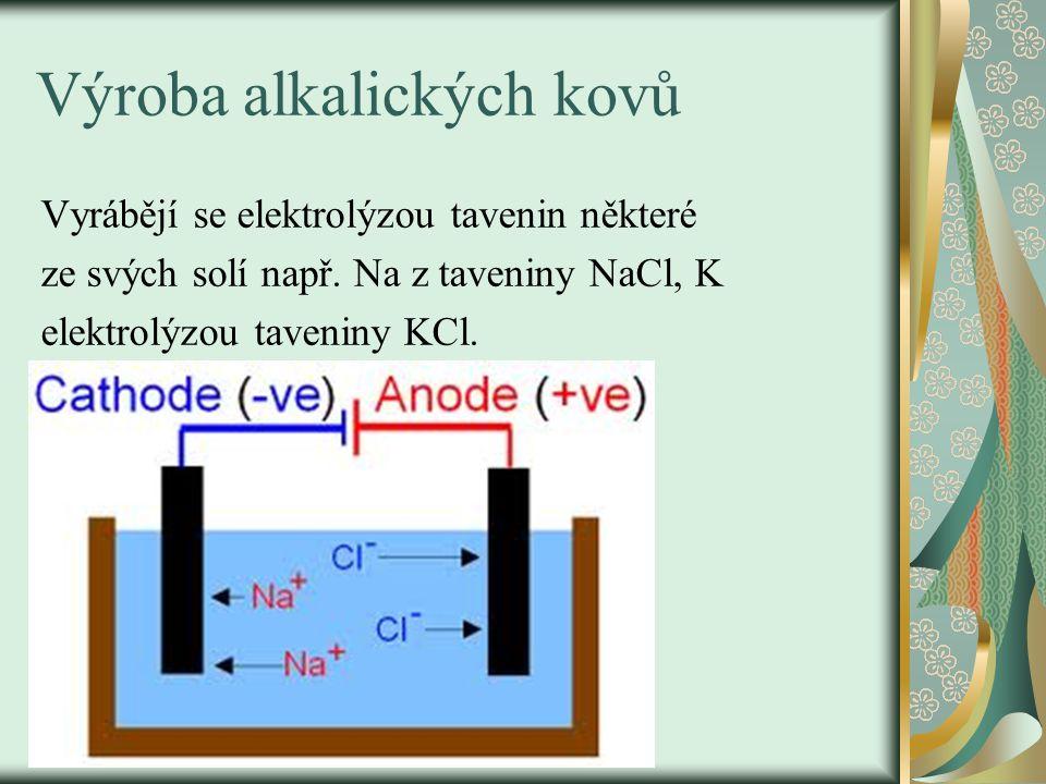 Výroba alkalických kovů Vyrábějí se elektrolýzou tavenin některé ze svých solí např.