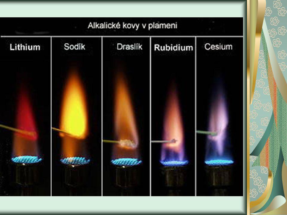 Chemické vlastnosti Jsou mimořádně reaktivní, proto se uchovávají pod inertním rozpouštědlem např.