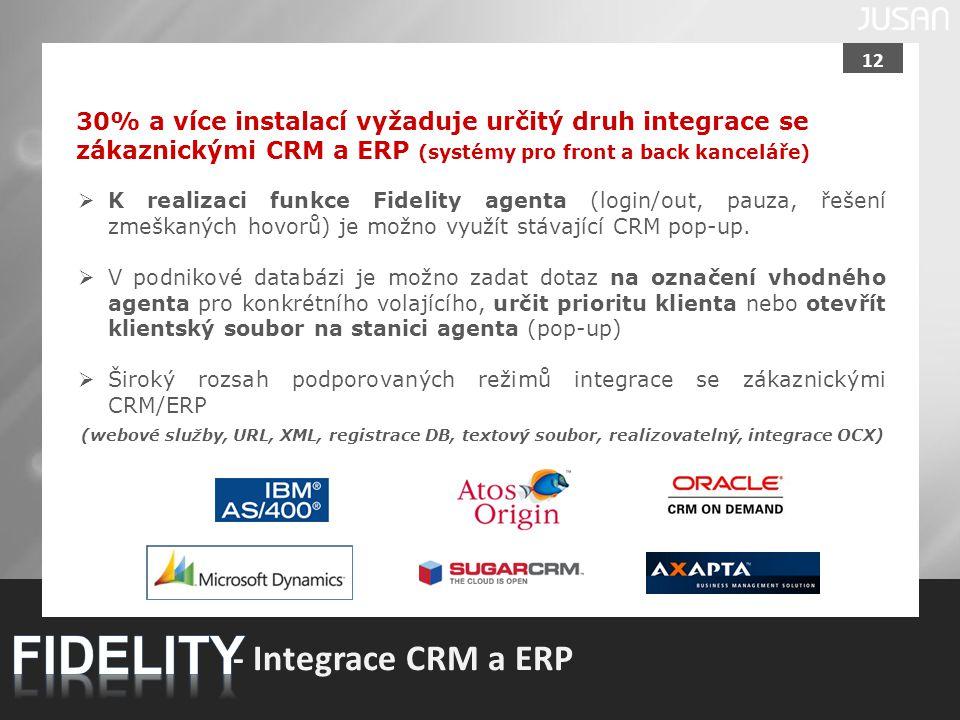 12 - Integrace CRM a ERP 30% a více instalací vyžaduje určitý druh integrace se zákaznickými CRM a ERP (systémy pro front a back kanceláře)  K realiz