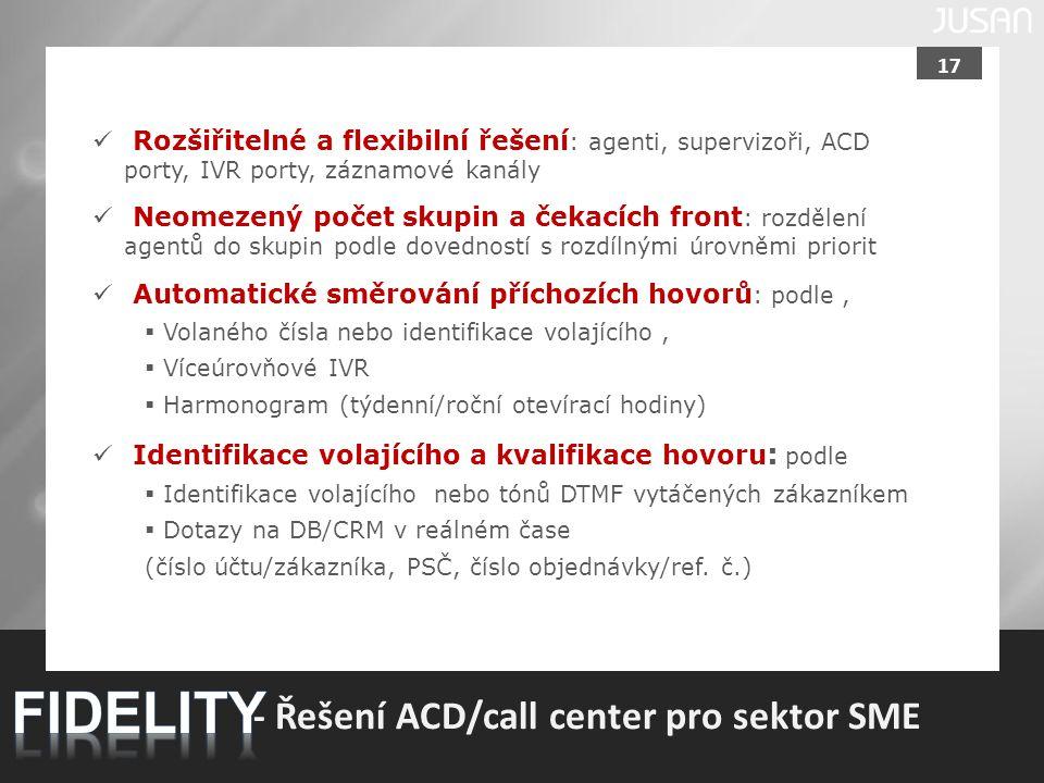 17 - Řešení ACD/call center pro sektor SME Rozšiřitelné a flexibilní řešení : agenti, supervizoři, ACD porty, IVR porty, záznamové kanály Neomezený po