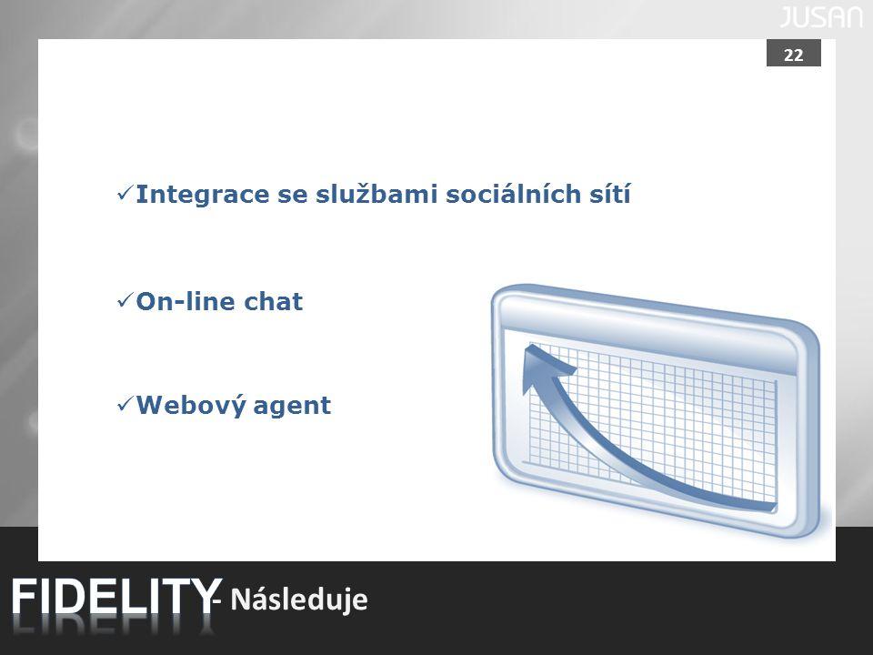 22 - Následuje Integrace se službami sociálních sítí On-line chat Webový agent