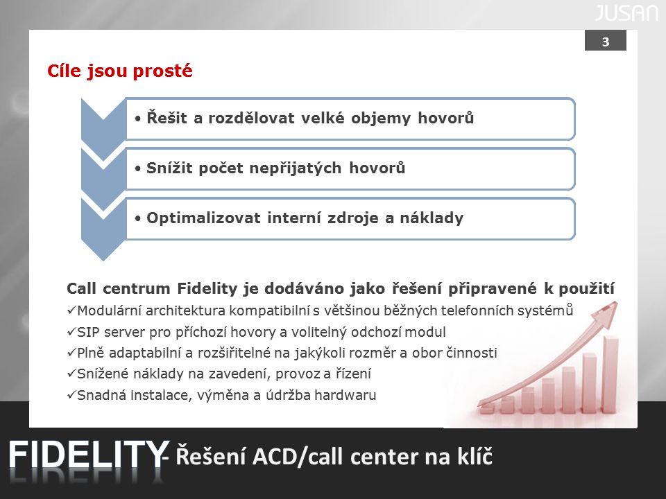 3 - Řešení ACD/call center na klíč Cíle jsou prosté Řešit a rozdělovat velké objemy hovorů Snížit počet nepřijatých hovorů Optimalizovat interní zdroj
