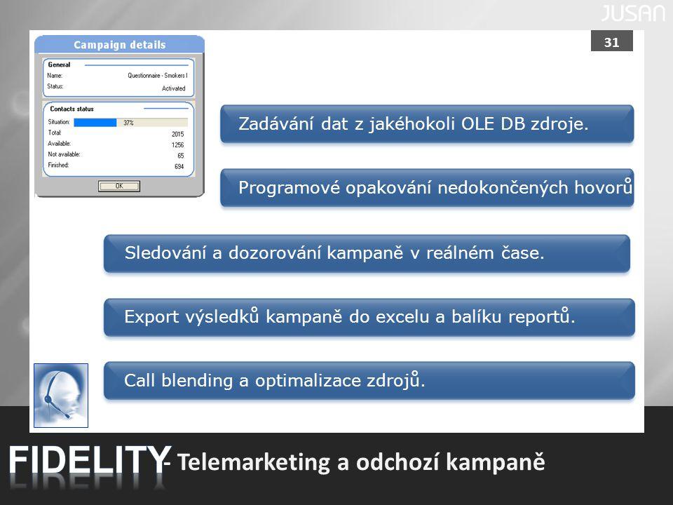 31 - Telemarketing a odchozí kampaně Sledování a dozorování kampaně v reálném čase.Zadávání dat z jakéhokoli OLE DB zdroje.Programové opakování nedoko