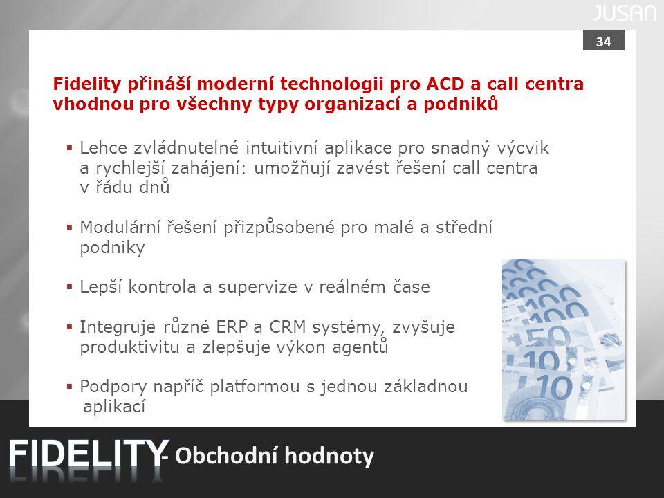 34 Fidelity přináší moderní technologii pro ACD a call centra vhodnou pro všechny typy organizací a podniků - Obchodní hodnoty  Lehce zvládnutelné in