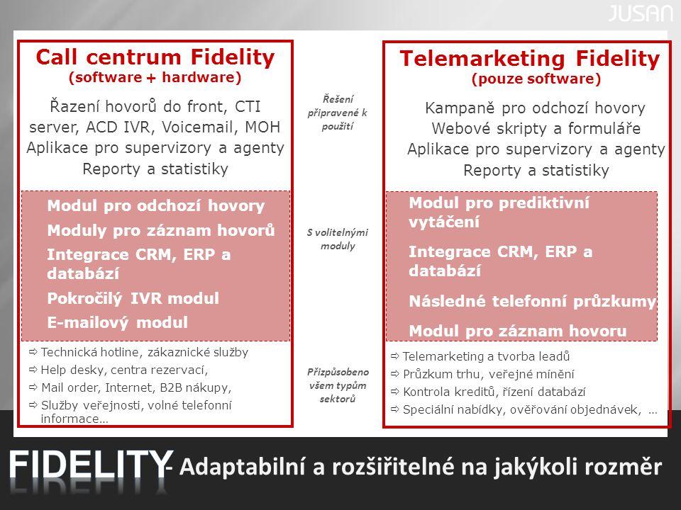 6 Call centrum Fidelity (software + hardware) Řazení hovorů do front, CTI server, ACD IVR, Voicemail, MOH Aplikace pro supervizory a agenty Reporty a