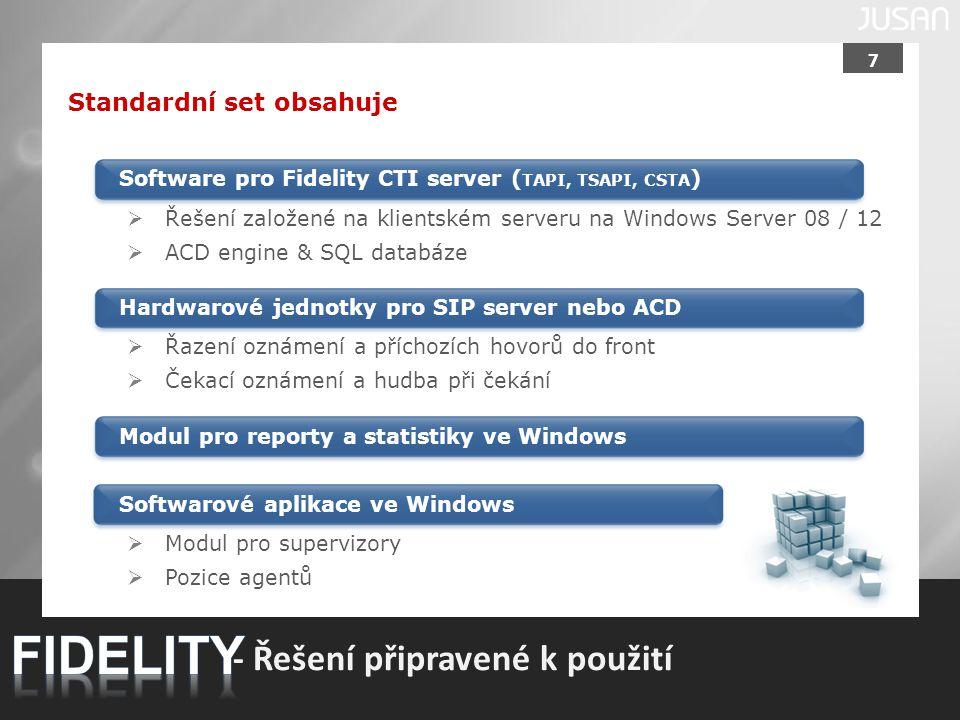 7 - Řešení připravené k použití Standardní set obsahuje Software pro Fidelity CTI server ( TAPI, TSAPI, CSTA ) Modul pro reporty a statistiky ve Windo