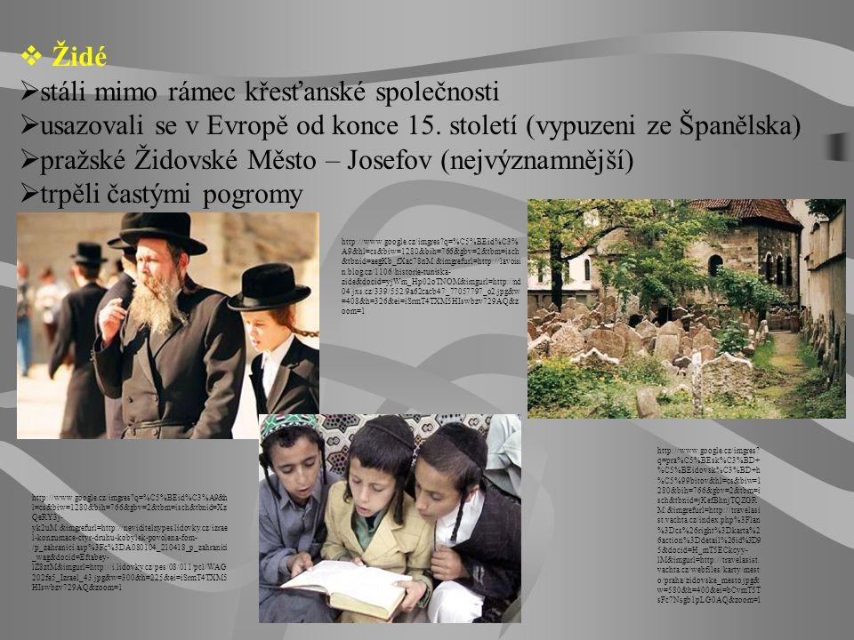  Židé  stáli mimo rámec křesťanské společnosti  usazovali se v Evropě od konce 15. století (vypuzeni ze Španělska)  pražské Židovské Město – Josef