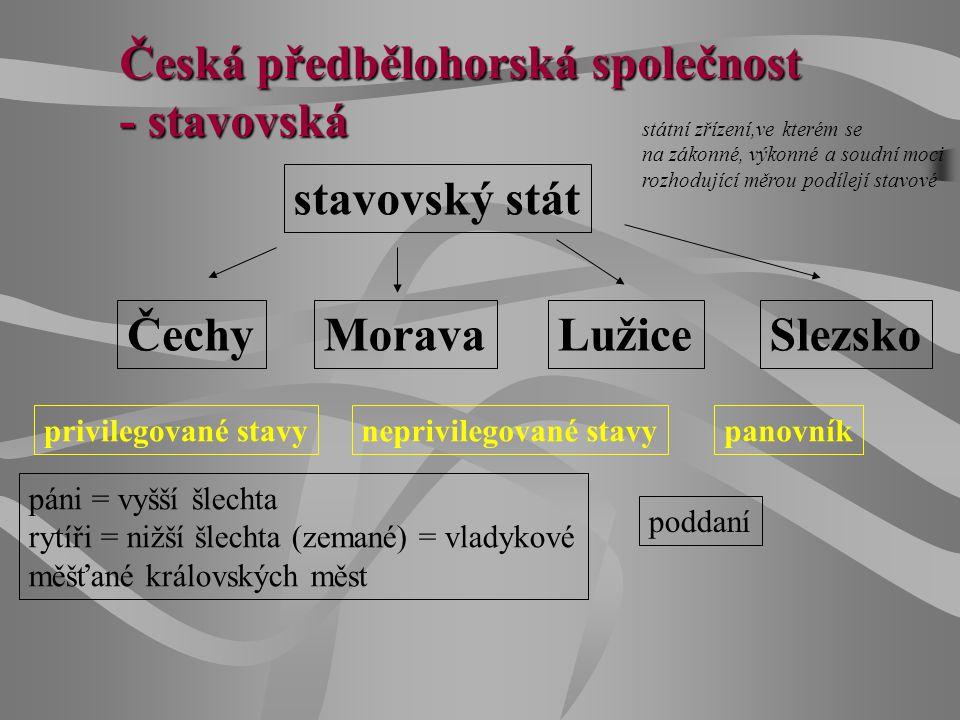 Česká předbělohorská společnost - stavovská stavovský stát státní zřízení,ve kterém se na zákonné, výkonné a soudní moci rozhodující měrou podílejí st