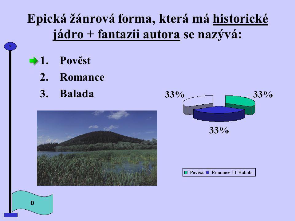 Epická žánrová forma, která má historické jádro + fantazii autora se nazývá: 1.Pověst 2.Romance 3.Balada 0 5