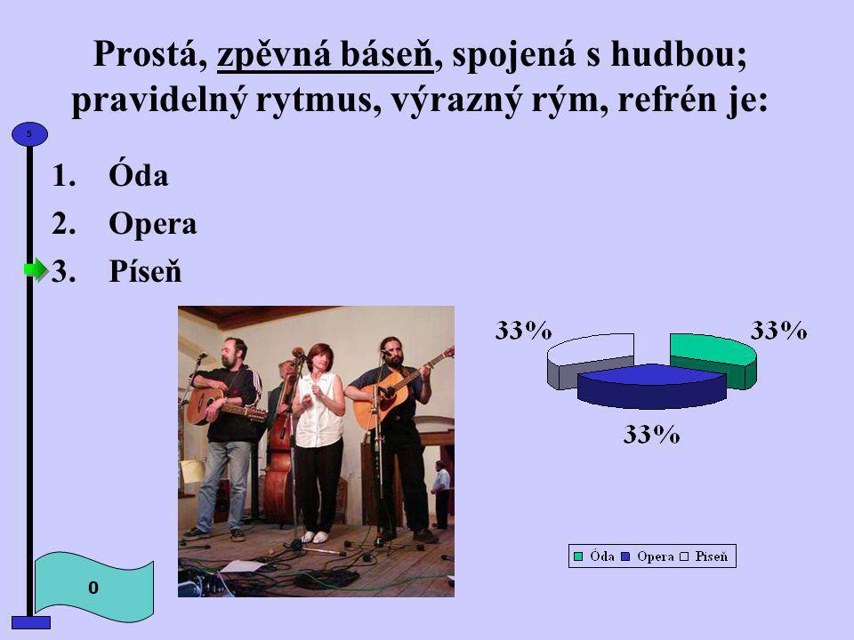 Prostá, zpěvná báseň, spojená s hudbou; pravidelný rytmus, výrazný rým, refrén je: 0 5 1.Óda 2.Opera 3.Píseň