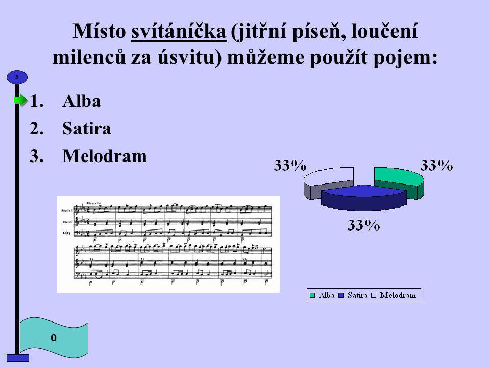 Místo svítáníčka (jitřní píseň, loučení milenců za úsvitu) můžeme použít pojem: 0 5 1.Alba 2.Satira 3.Melodram
