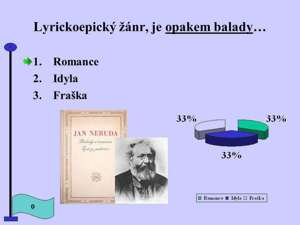 Lyrickoepický žánr, je opakem balady… 1.Romance 2.Idyla 3.Fraška 0 5