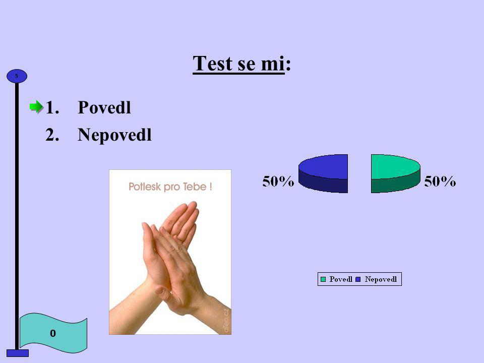 Test se mi: 0 5 1.Povedl 2.Nepovedl