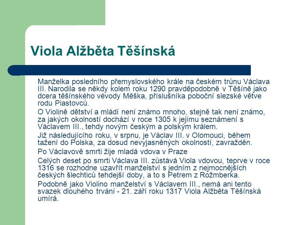Viola Alžběta Těšínská Manželka posledního přemyslovského krále na českém trůnu Václava III. Narodila se někdy kolem roku 1290 pravděpodobně v Těšíně