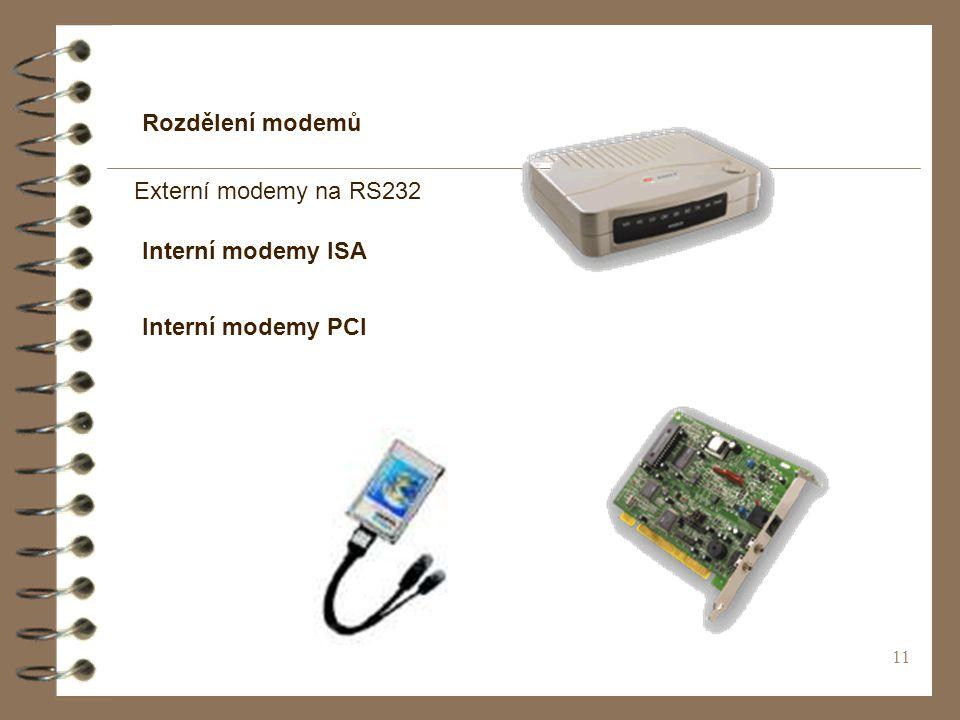 11 Rozdělení modemů Externí modemy na RS232 Interní modemy ISA Interní modemy PCI