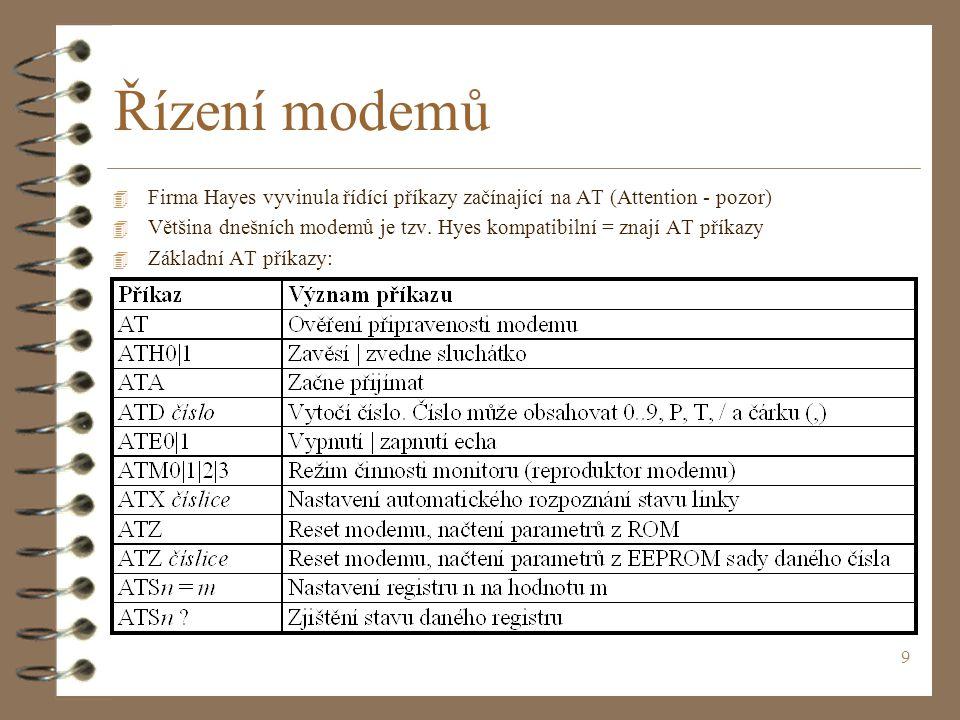 9 Řízení modemů 4 Firma Hayes vyvinula řídící příkazy začínající na AT (Attention - pozor) 4 Většina dnešních modemů je tzv.
