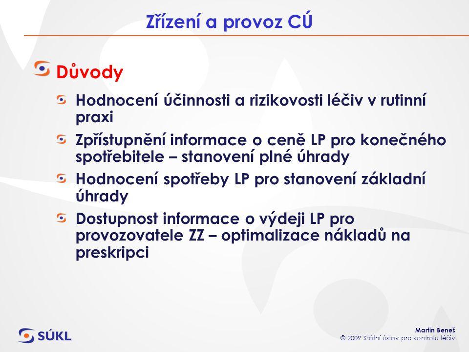 Martin Beneš © 2009 Státní ústav pro kontrolu léčiv Zřízení a provoz CÚ Důvody Hodnocení účinnosti a rizikovosti léčiv v rutinní praxi Zpřístupnění in