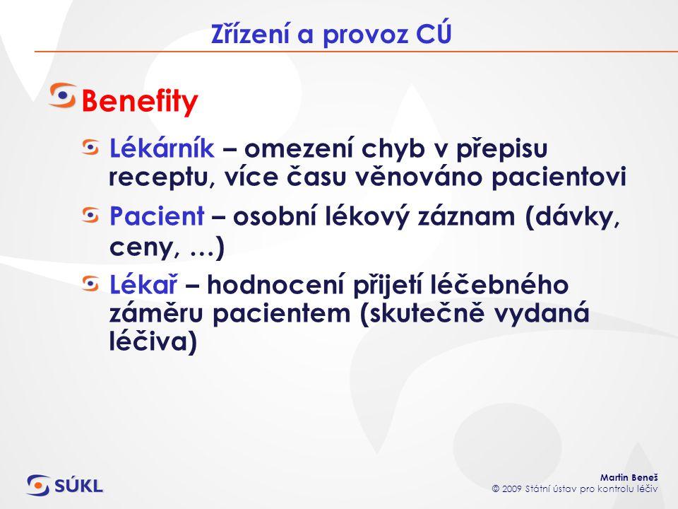 Martin Beneš © 2009 Státní ústav pro kontrolu léčiv Zřízení a provoz CÚ Benefity Lékárník – omezení chyb v přepisu receptu, více času věnováno pacient