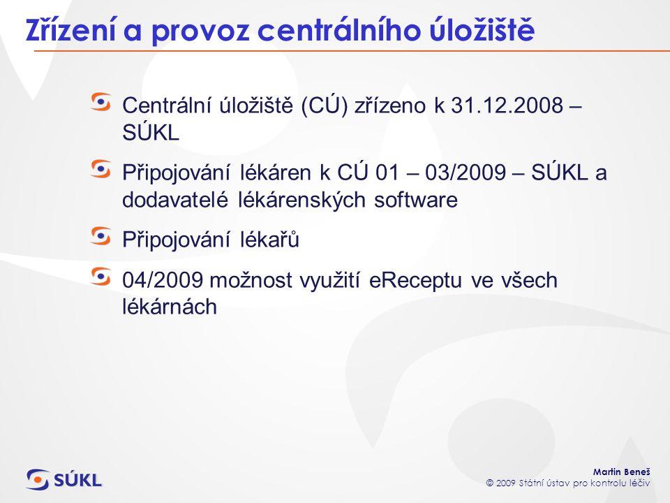 Martin Beneš © 2009 Státní ústav pro kontrolu léčiv Zřízení a provoz centrálního úložiště Centrální úložiště (CÚ) zřízeno k 31.12.2008 – SÚKL Připojov
