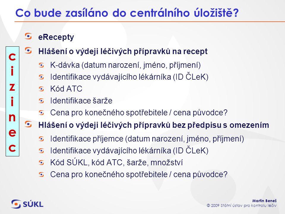 Martin Beneš © 2009 Státní ústav pro kontrolu léčiv Co bude zasíláno do centrálního úložiště? eRecepty Hlášení o výdeji léčivých přípravků na recept K