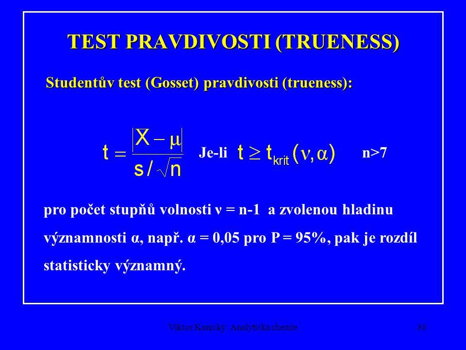 Viktor Kanický: Analytická chemie29 PRAVDIVOST - TRUENESS Standardní odchylka s je odhadem σ