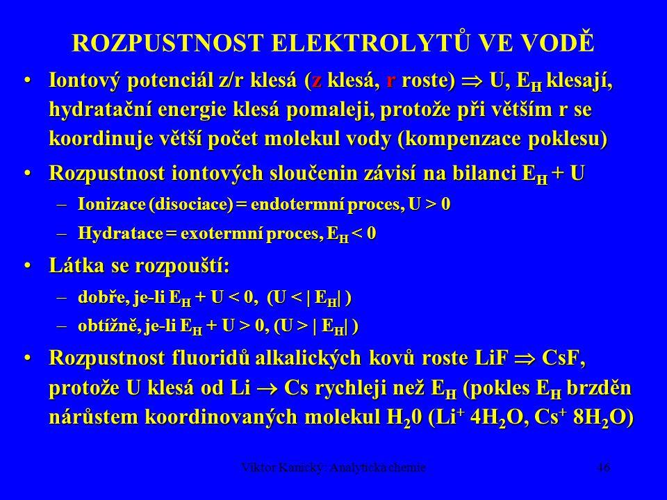 Viktor Kanický: Analytická chemie45 ROZPUSTNOST ELEKTROLYTŮ VE VODĚ Tuhý elektrolytTuhý elektrolyt –Ionty v krystalové mřížce –Polární molekuly Energie potřebná pro porušení vazby–zisk hydratací iontů  rozpustnost   E (pevnost vazby, hydratace)Energie potřebná pro porušení vazby–zisk hydratací iontů  rozpustnost   E (pevnost vazby, hydratace) Pevnost vazby v iontových sloučeninách – mřížková energie U = f(z, r, k), z = náboj, r = poloměr iontu, k = koordinační č.Pevnost vazby v iontových sloučeninách – mřížková energie U = f(z, r, k), z = náboj, r = poloměr iontu, k = koordinační č.
