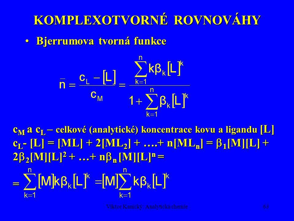 Viktor Kanický: Analytická chemie62 KOMPLEXOTVORNÉ ROVNOVÁHY Komplex: koordinační sloučenina – asociační rovnováha: m M + n L  M m L n, M-centr.