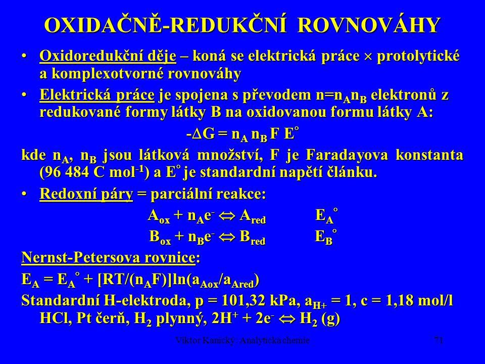 Viktor Kanický: Analytická chemie70 ROZPOUŠTĚCÍ ROVNOVÁHY Rovnováha mezi tuhou fází a nasyceným roztokem  G = 0Rovnováha mezi tuhou fází a nasyceným roztokem  G = 0  I =  III = m  M 0 + mRT·ln a M + n  N 0 + nRT·ln a N  I =  III = m  M 0 + mRT·ln a M + n  N 0 + nRT·ln a N V pevné fázi jsou konstantní a jednotkové aktivityV pevné fázi jsou konstantní a jednotkové aktivity  I 0 =  III 0 + RT·ln a M m · a N n  I 0 =  III 0 + RT·ln a M m · a N n Součin rozpustnosti (K s ) a = a M m · a N n, konst.