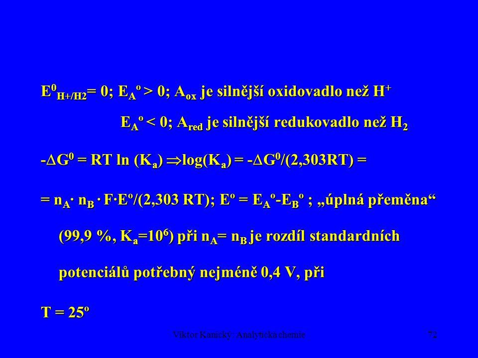 Viktor Kanický: Analytická chemie71 OXIDAČNĚ-REDUKČNÍ ROVNOVÁHY Oxidoredukční děje – koná se elektrická práce  protolytické a komplexotvorné rovnováhyOxidoredukční děje – koná se elektrická práce  protolytické a komplexotvorné rovnováhy Elektrická práce je spojena s převodem n=n A n B elektronů z redukované formy látky B na oxidovanou formu látky A:Elektrická práce je spojena s převodem n=n A n B elektronů z redukované formy látky B na oxidovanou formu látky A: -  G = n A n B F E ° kde n A, n B jsou látková množství, F je Faradayova konstanta (96 484 C mol -1 ) a E ° je standardní napětí článku.