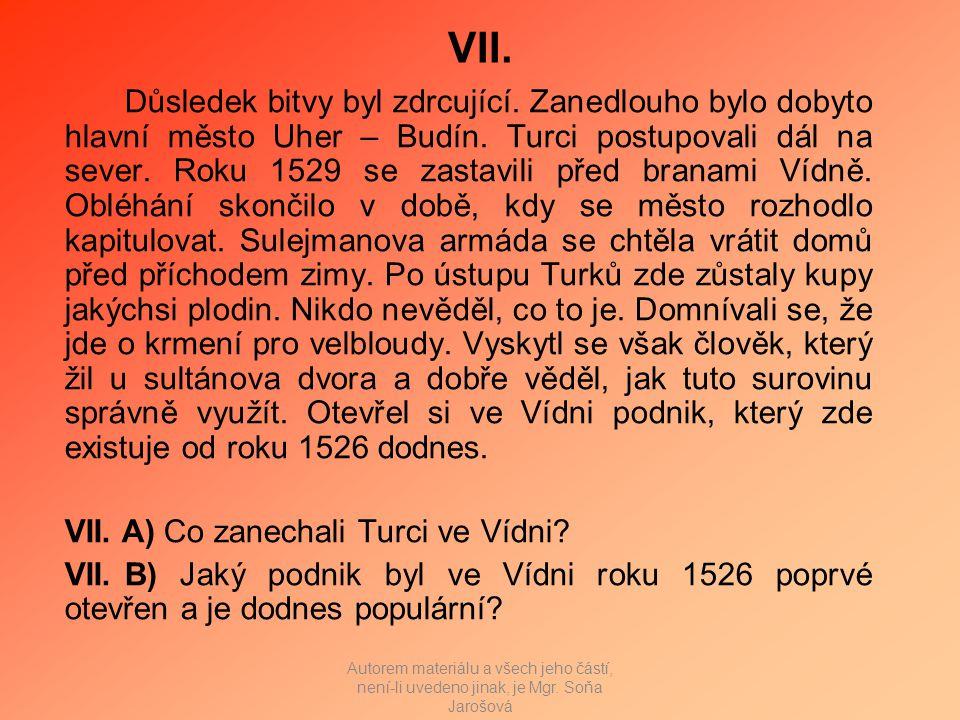 VII. Důsledek bitvy byl zdrcující. Zanedlouho bylo dobyto hlavní město Uher – Budín.