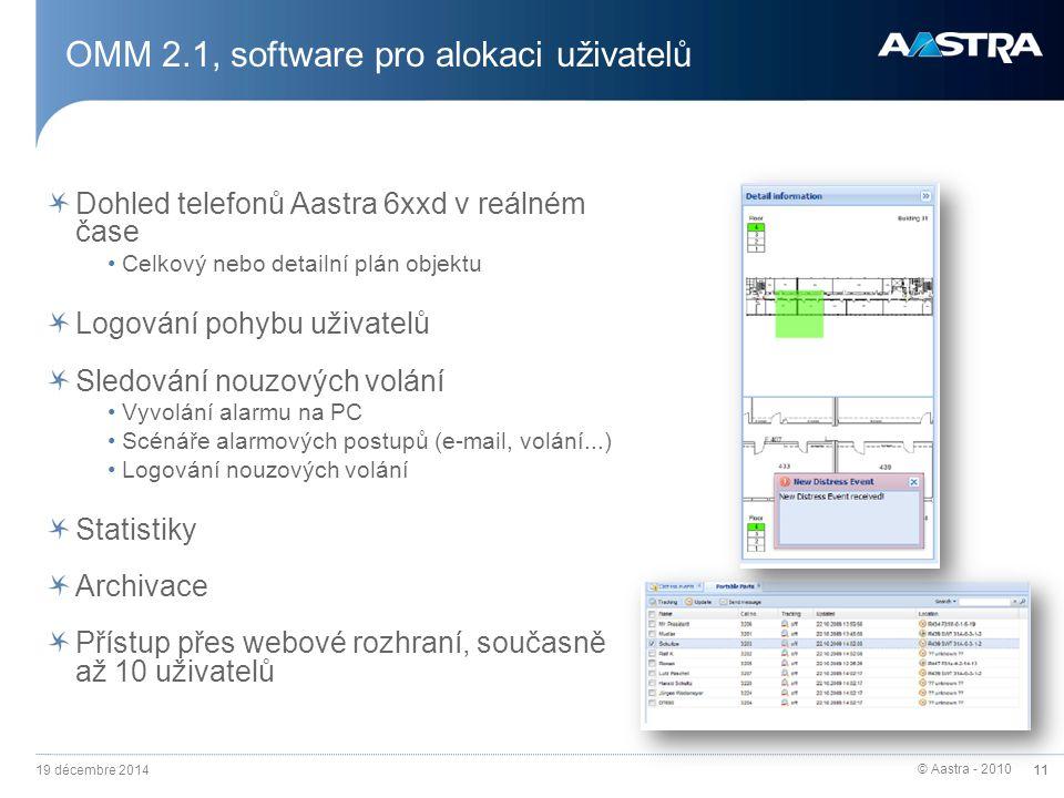 © Aastra - 2010 11 OMM 2.1, software pro alokaci uživatelů Dohled telefonů Aastra 6xxd v reálném čase Celkový nebo detailní plán objektu Logování pohy