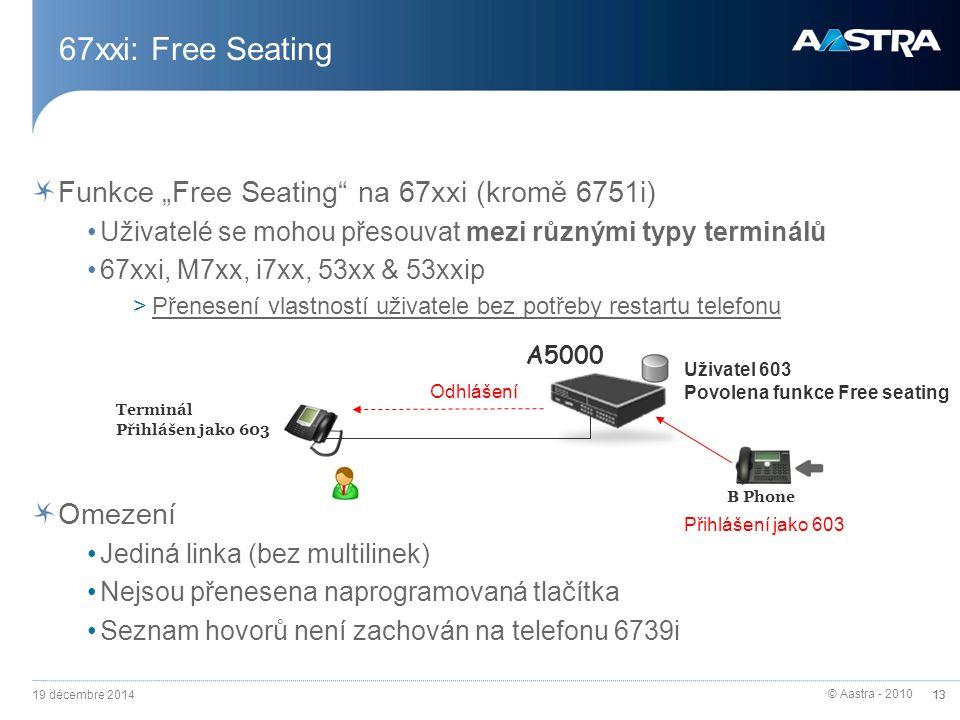 """© Aastra - 2010 13 67xxi: Free Seating Funkce """"Free Seating na 67xxi (kromě 6751i) Uživatelé se mohou přesouvat mezi různými typy terminálů 67xxi, M7xx, i7xx, 53xx & 53xxip >Přenesení vlastností uživatele bez potřeby restartu telefonu Omezení Jediná linka (bez multilinek) Nejsou přenesena naprogramovaná tlačítka Seznam hovorů není zachován na telefonu 6739i A5000 Uživatel 603 Povolena funkce Free seating Přihlášení jako 603 Terminál Přihlášen jako 603 B Phone Odhlášení 19 décembre 2014 13"""