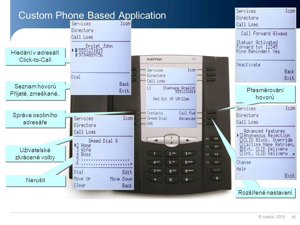 © Aastra - 2010 16 Hledání v adresáři Click-to-Call Hledání v adresáři Click-to-Call Seznam hovorů Přijaté, zmeškané..