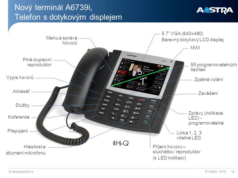 © Aastra - 2010 18 Nový terminál A6739i, Telefon s dotykovým displejem 19 décembre 2014 Menu a správa hovorů Výpis hovorů Služby Koference Hlasitost a
