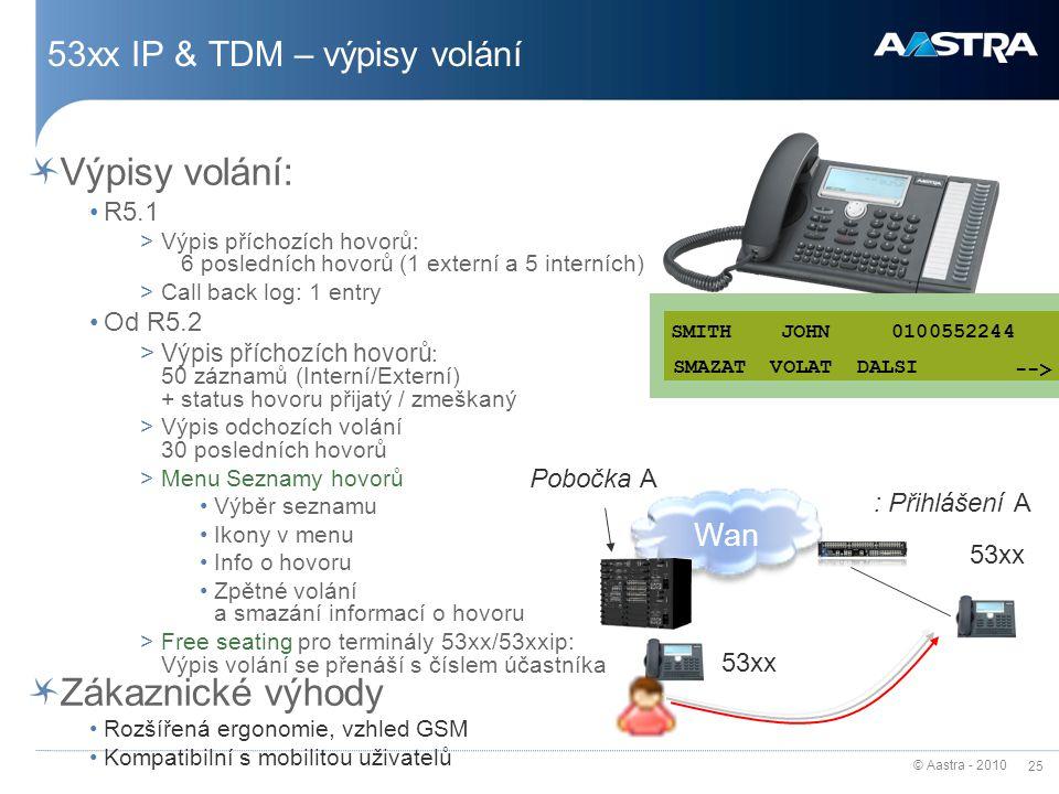 © Aastra - 2010 25 53xx IP & TDM – výpisy volání Výpisy volání: R5.1 >Výpis příchozích hovorů: 6 posledních hovorů (1 externí a 5 interních) >Call back log: 1 entry Od R5.2 >Výpis příchozích hovorů : 50 záznamů (Interní/Externí) + status hovoru přijatý / zmeškaný >Výpis odchozích volání 30 posledních hovorů >Menu Seznamy hovorů Výběr seznamu Ikony v menu Info o hovoru Zpětné volání a smazání informací o hovoru >Free seating pro terminály 53xx/53xxip: Výpis volání se přenáší s číslem účastníka Zákaznické výhody Rozšířená ergonomie, vzhled GSM Kompatibilní s mobilitou uživatelů CORRECT CALL NEXT SMITH JOHN 0100552244 SMAZAT VOLAT DALSI --> 53xx Pobočka A : Přihlášení A Wan