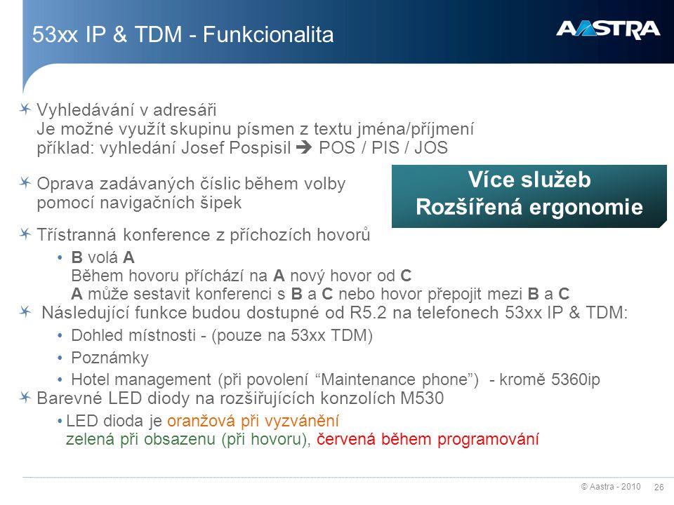 © Aastra - 2010 26 53xx IP & TDM - Funkcionalita Vyhledávání v adresáři Je možné využít skupinu písmen z textu jména/příjmení příklad: vyhledání Josef