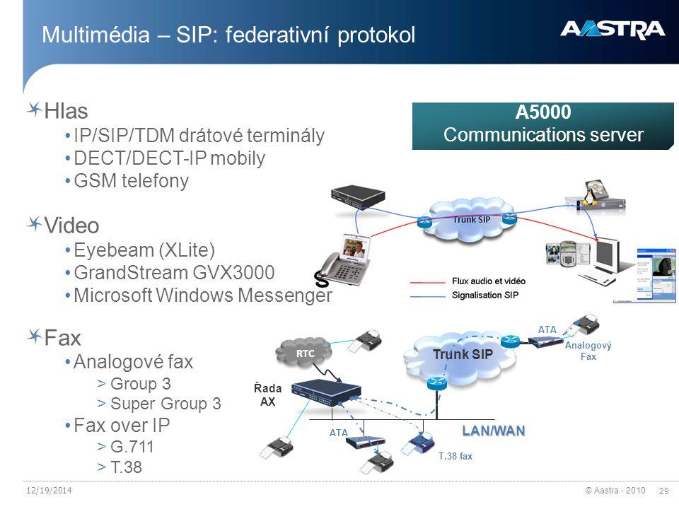 © Aastra - 2010 29 12/19/2014 Multimédia – SIP: federativní protokol Hlas IP/SIP/TDM drátové terminály DECT/DECT-IP mobily GSM telefony Video Eyebeam (XLite) GrandStream GVX3000 Microsoft Windows Messenger Fax Analogové fax >Group 3 >Super Group 3 Fax over IP >G.711 >T.38 RTC ATA T.38 fax Řada AX LAN/WAN Trunk SIP Analogový Fax ATA A5000 Communications server