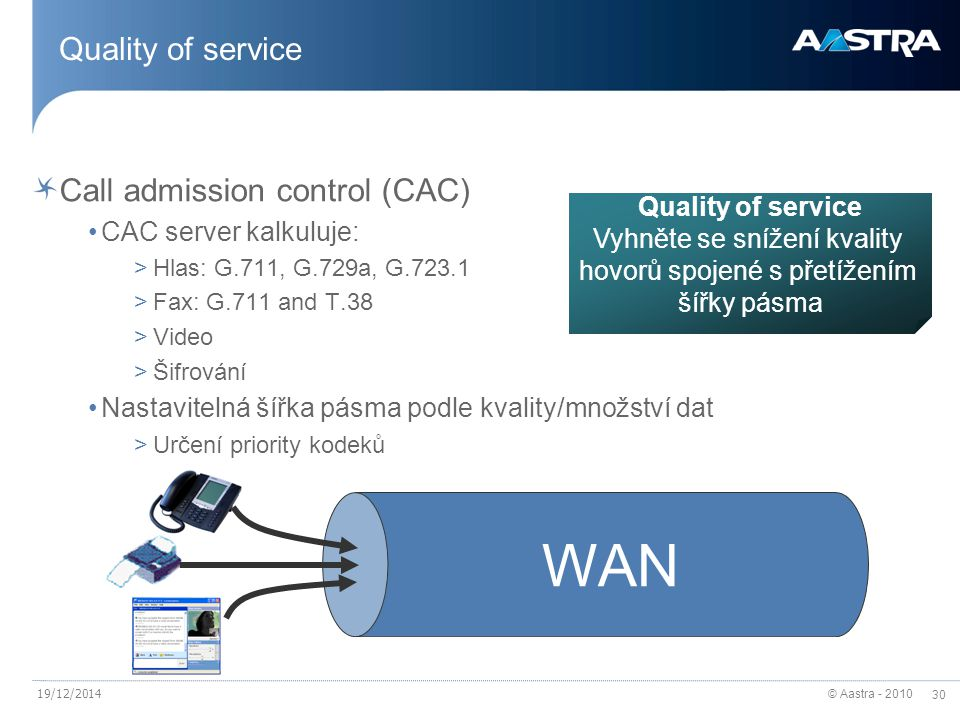 © Aastra - 2010 30 19/12/2014 Quality of service Call admission control (CAC) CAC server kalkuluje: >Hlas: G.711, G.729a, G.723.1 >Fax: G.711 and T.38